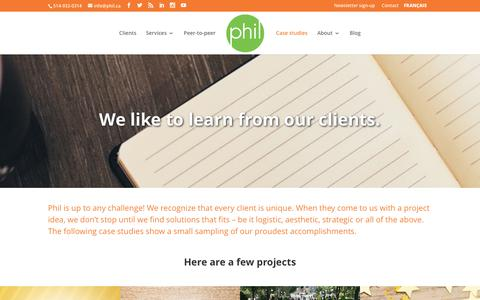Screenshot of Case Studies Page phil.ca - Case studies | Phil Communications - captured July 7, 2017