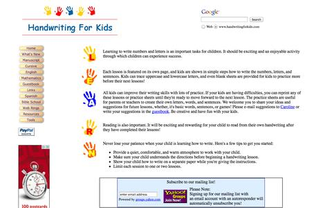 Screenshot of Home Page handwritingforkids.com - Handwriting for Kids - Welcome - captured Sept. 19, 2014