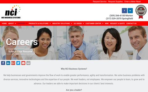 Screenshot of Jobs Page ncibsi.com - Careers - NCI Business Systems - captured Nov. 15, 2018