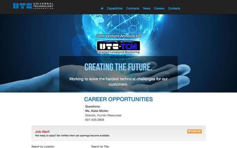 Screenshot of Jobs Page utcdayton.com - Universal Technology Corporation (UTC) - captured Oct. 19, 2017
