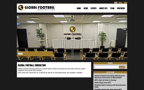 Screenshot of Home Page globalfootball.se - Global Football Consulting - captured Oct. 2, 2014