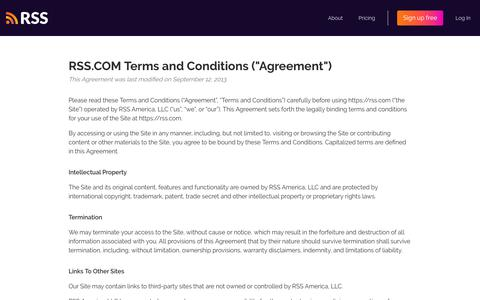 """Screenshot of Terms Page rss.com - Terms and Conditions (""""Agreement"""") - captured Jan. 20, 2020"""