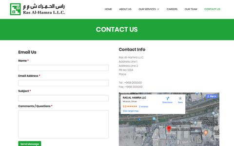 Screenshot of Contact Page rasalhamra.com - Ras Al-Hamra L.L.C - captured Oct. 18, 2018