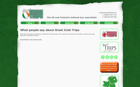 Screenshot of Testimonials Page greatirishtrips.com - What people say about Great Irish Trips - captured July 18, 2016