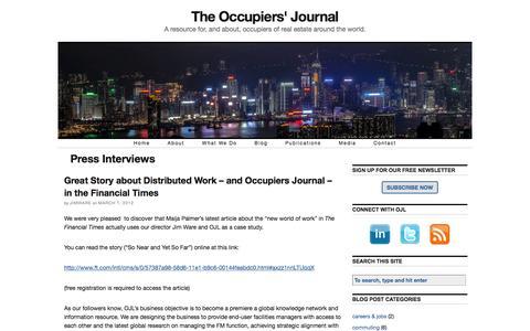 Screenshot of Press Page occupiersjournal.com - Press Interviews — The Occupiers' Journal - captured Feb. 22, 2016