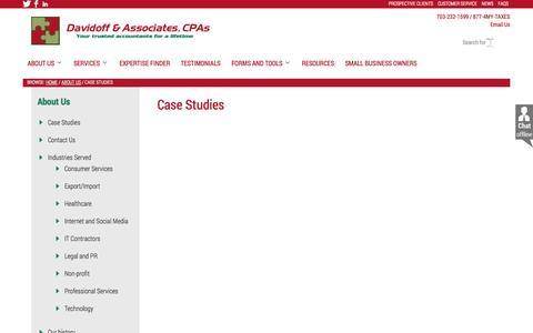 Screenshot of Case Studies Page davidoffcpa.com - Case Studies - Davidoff & Associates, CPAs - captured Nov. 3, 2014