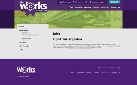 Screenshot of Jobs Page theworks.org - Jobs | The Works Museum - captured May 13, 2016