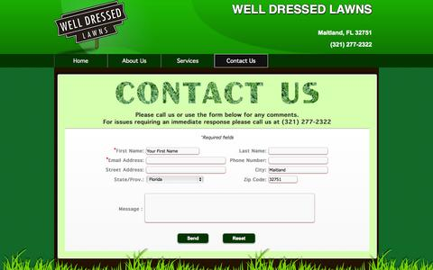 Screenshot of Contact Page welldressedlawns.com - WELL DRESSED LAWNS  Lawn Care Services :: Contact Us - captured Oct. 26, 2014