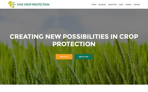 Screenshot of Home Page vivecrop.com - Vive Crop Protection – Simple Small - captured Feb. 21, 2016