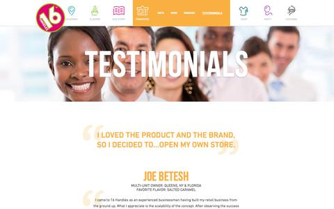 Screenshot of Testimonials Page 16handles.com - Best Frozen Yogurt Franchise - 16 Handles Testimonials - captured Oct. 27, 2014