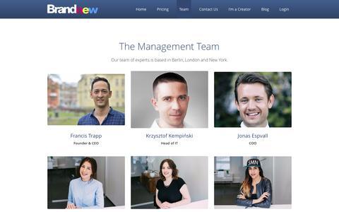 Screenshot of Team Page brandnew.io - Team - Brandnew: Content Creator Platform - captured Sept. 19, 2016