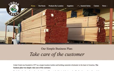 Screenshot of Home Page cedarcreek.com - Cedar Creek | Lumber & Building Materials - captured Sept. 29, 2014