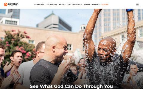 Screenshot of About Page elevationchurch.org - About - learn more about our beliefs, and leadership - Elevation Church - captured June 7, 2019