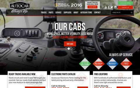 Screenshot of Home Page autocartruck.com - Welcome to Autocar – Home | Autocar Trucks - captured Feb. 6, 2016