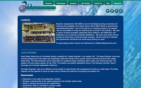 Screenshot of Jobs Page worldwaterworks.com - World Water Works, Inc. :: Careers - captured Oct. 26, 2014