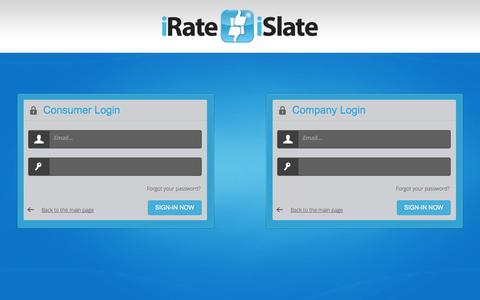 Screenshot of Login Page irateislate.co.uk - Login to Manage Reviews and Respond to Complaints - captured Oct. 6, 2014