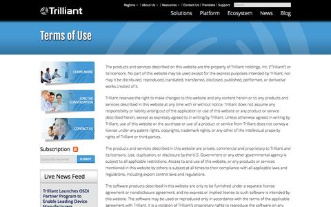 Screenshot of Terms Page trilliantinc.com - Trilliant | Smart Grid Communications Network: Terms of Use - captured Sept. 12, 2014
