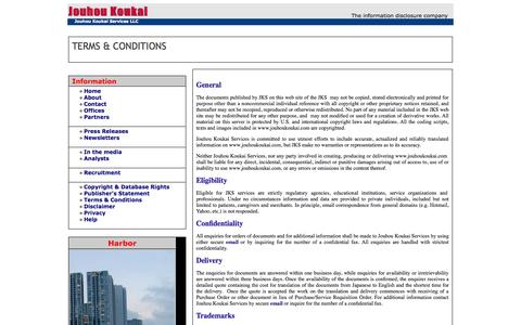 Screenshot of Terms Page jouhoukoukai.com - Jouhou Koukai Services - TERMS AND CONDITIONS - captured Oct. 6, 2014