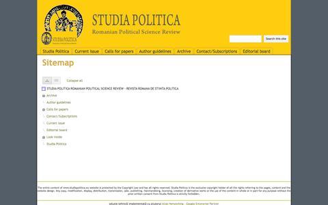 Screenshot of Site Map Page studiapolitica.eu - Sitemap - STUDIA POLITICA ROMANIAN POLITICAL SCIENCE REVIEW - REVISTA ROMANA DE STIINTA POLITICA - captured Oct. 8, 2014