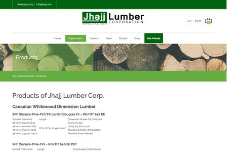 Screenshot of Products Page jhajj.com - Products | Jhajj Lumber Corporation - captured Nov. 27, 2016