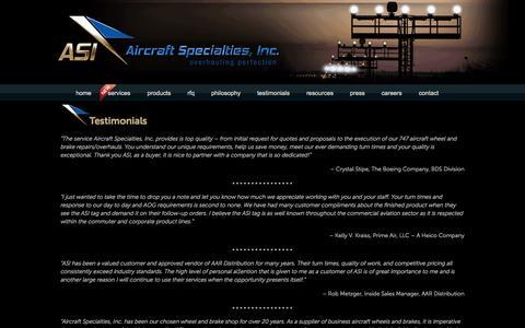 Screenshot of Testimonials Page asibrake.com - Testimonials | Aircraft Specialties, Inc. - captured Oct. 4, 2014
