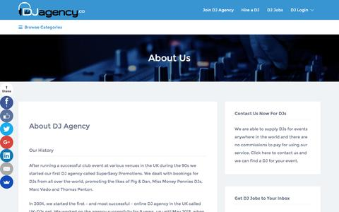 Screenshot of About Page djagency.co - DJ Agency .Co - About Us - captured July 31, 2016
