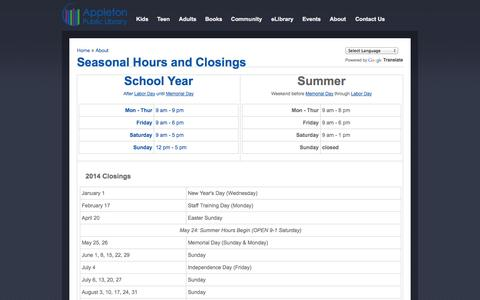 Screenshot of Hours Page apl.org - Seasonal Hours and Closings | Appleton Public Library, WI - captured Oct. 30, 2014
