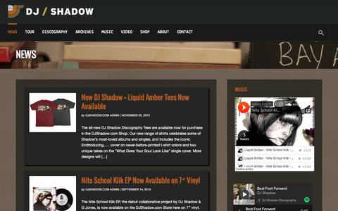 Screenshot of Press Page djshadow.com - News | DJ Shadow | Official Website - captured Jan. 7, 2016