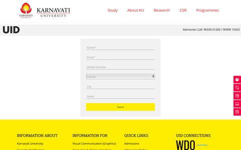 Screenshot of Contact Page karnavatiuniversity.com - Contact Us - UID - captured Oct. 20, 2018