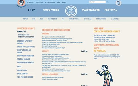 Screenshot of FAQ Page lifeisgood.com - Help - Frequently Asked Questions   Life is good - captured Oct. 27, 2014