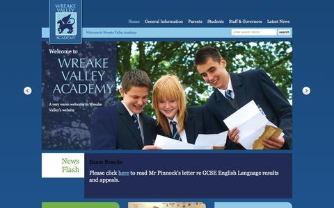 Screenshot of Home Page wvacademy.org - Wreake Valley Academy - captured Oct. 16, 2015