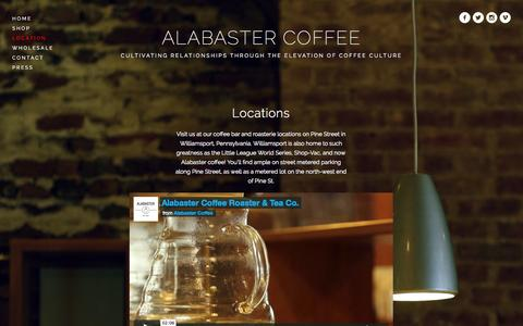 Screenshot of Locations Page alabastercoffee.com - Location — ALABASTER COFFEE - captured Oct. 4, 2014