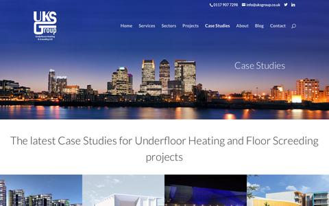 Screenshot of Case Studies Page uksgroup.co.uk - Case Studies for Underfloor Heating | Floor Screeding Case Studies - captured Nov. 5, 2018