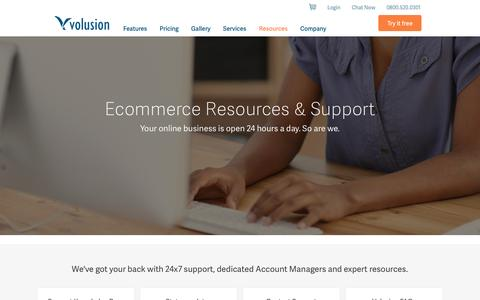 Screenshot of Support Page volusion.com - Ecommerce Support from Volusion - captured Nov. 3, 2015