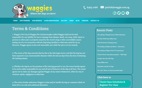 Screenshot of Terms Page waggie.com.sg - Terms & Conditions - captured Aug. 25, 2019