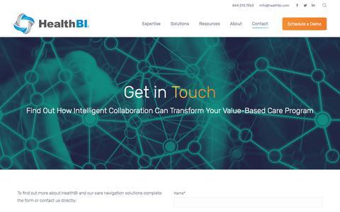 Screenshot of Contact Page healthbi.com - Contact - HealthBI - captured July 17, 2018