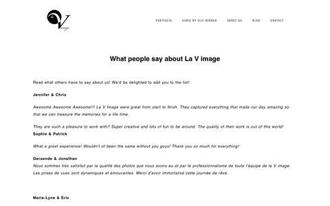 Screenshot of Testimonials Page lavimage.com - Wedding photographer reviews - La V image - Wedding photography - captured May 14, 2017