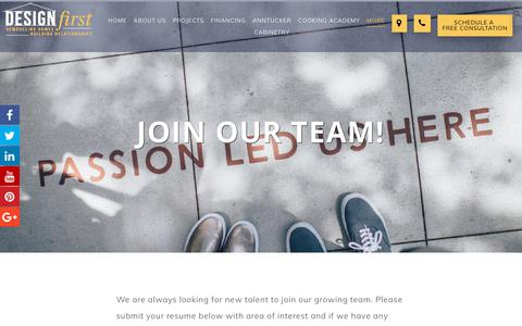 Screenshot of Jobs Page designfirstbuilders.com - Home Remodeling Careers   Join Our Team   DESIGNFirst Builders - captured July 13, 2018