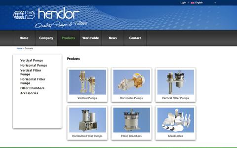 Screenshot of Products Page hendor.com - Hendor - Quality Pumps & Filters - captured Aug. 3, 2017
