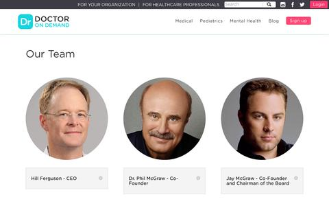 Screenshot of Team Page doctorondemand.com - Our Team and Investors - captured Sept. 18, 2016