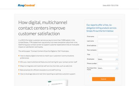 Screenshot of Landing Page ringcentral.com - How digital, multichannel contact centers improve customer satisfaction - captured March 27, 2016