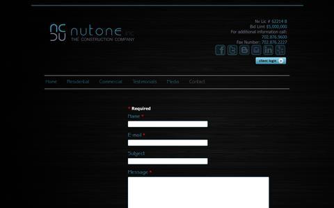 Screenshot of Contact Page nutoneconstruction.com - Contact - captured Sept. 30, 2014
