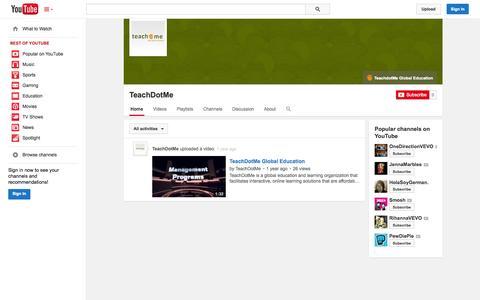 Screenshot of YouTube Page youtube.com - TeachDotMe  - YouTube - captured Oct. 26, 2014