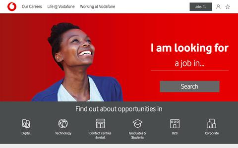 Screenshot of Jobs Page vodafone.co.uk - Careers @ Vodafone  | Vodafone Careers - captured April 20, 2018