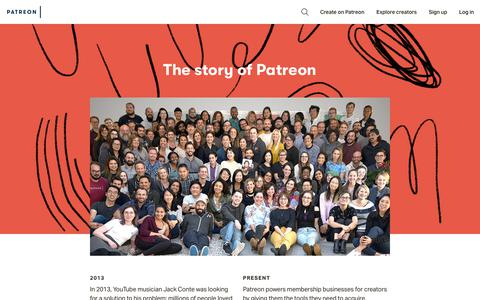 Screenshot of About Page patreon.com - About   Patreon - captured April 18, 2019