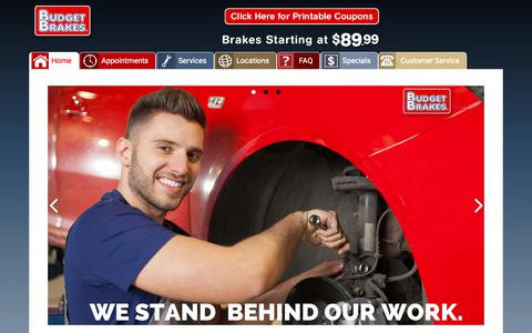 Screenshot of Home Page budgetbrakes.com - Best Brake Repair in Alabama, Florida and Tennessee From at $89.99 - captured Nov. 6, 2018