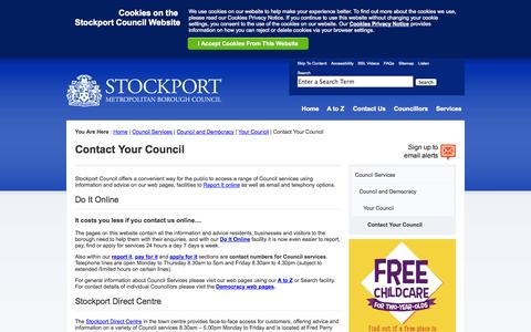 Screenshot of Contact Page stockport.gov.uk - Stockport Council - Contact Your Council - captured Sept. 22, 2014
