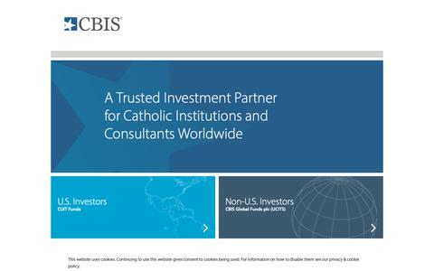 Screenshot of Home Page cbisonline.com - Investment Solutions For Catholic Institutions | CBIS - captured Sept. 28, 2018