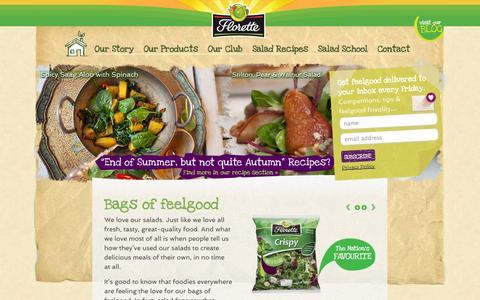 Screenshot of Home Page florettesalad.co.uk - Bags of feelgood - Florette Salad - captured Sept. 25, 2014