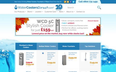Screenshot of Home Page watercoolersdirect.com - Buy Water Coolers and Water Dispensers UK - Water Coolers Direct - captured Oct. 7, 2014
